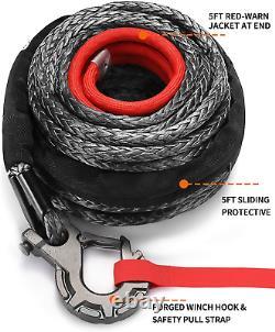 Kit De Câble De Corde De Treuil Synthétique All-top 1/2 X 92 Ft 31500lbs Ligne De Treuil Avec +