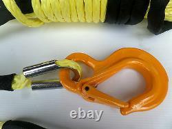 Rope De Treuil Synthétique Jaune De 11mm 100ft Et Crochet 11800kg Uhmpwe Auto-récupération 4x4