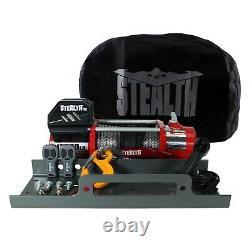 Stealth V2 13500lb 12v Winch Avec Corde Synthétique, Plaque De Montage Et Couverture Furtive