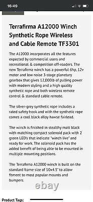Terrafirma A12000 Treuil De Récupération 4x4 12000lb 12v Corde Synthétique Tf3301 Landrover