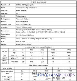 Terrafirma M12.5s 12500lb Treuil De Récupération 12v Rope Synthétique Tf3320
