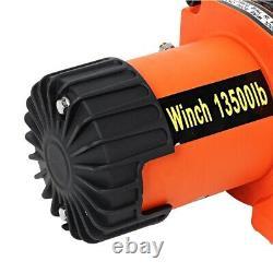 Treuil De Récupération Électrique 12v 13500lb Corde En Nylon Synthétique Robuste 27 Mètres