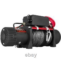 Treuil Électrique À Corde Synthétique 13500lbs 12v 6123,5kg Rouleaux De Train De Vitesse Fairlead