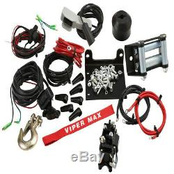 Viper Max 2500 Lb Vtt Utv Treuil Kit Avec 50 Pieds Corde Synthétique Câble Sxs 4x4