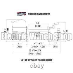 Warrior Samurai 9500 Haute Vitesse 12v V2 Treuil Électrique Avec Corde Synthétique
